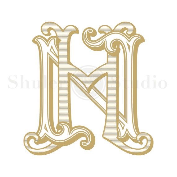 HN Monogram, NH Monogram, Custom Wedding Monogram, Custom Wedding Logo, Vintage Monogram