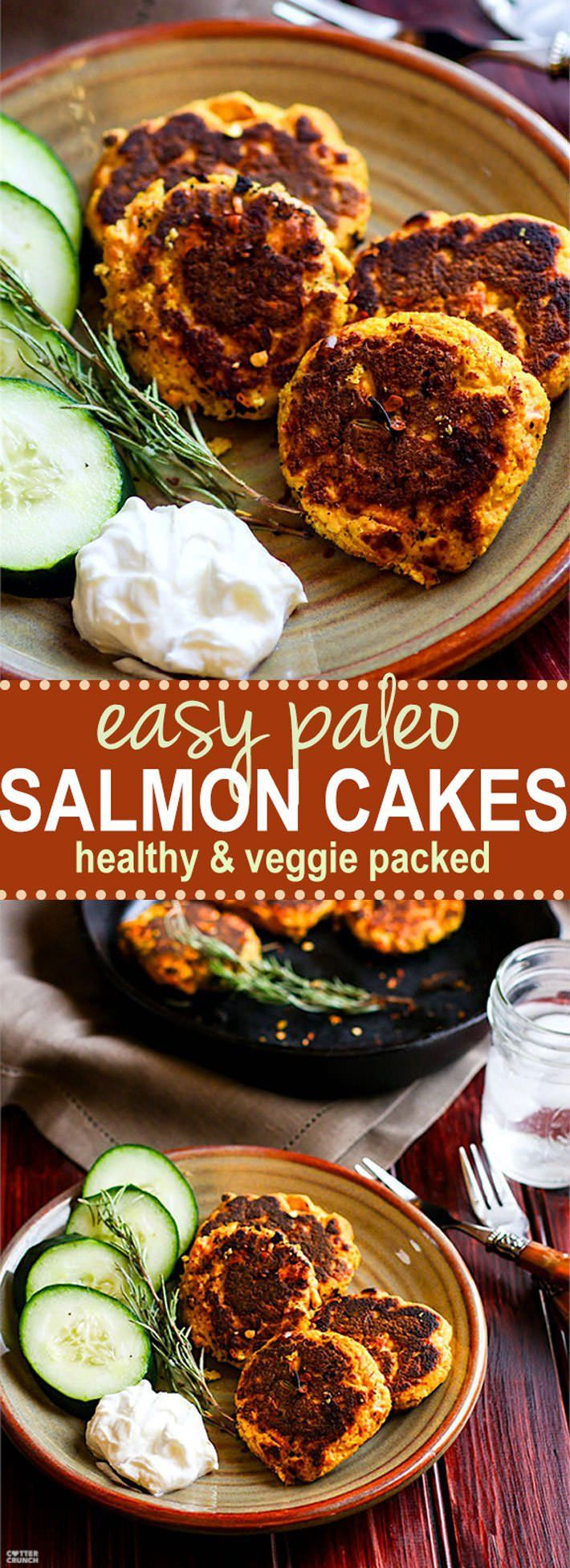 Healthy Vegetable Packed Paleo Salmon Cakes! *Omit Honey for Whole 30*   Super easy, super simple, super delicious! These Paleo salmon cakes take little time. Salmon Cakes that are literally veggie packed and protein packed! Just butternut squash, herbs, egg, salmon, and spices! No wasting leftovers here, just mix and throw on a skillet. Great for a healthy meal, snacks, party appetizers, and are freezer friendly. #whole30 approved. www.cottercrunch.com