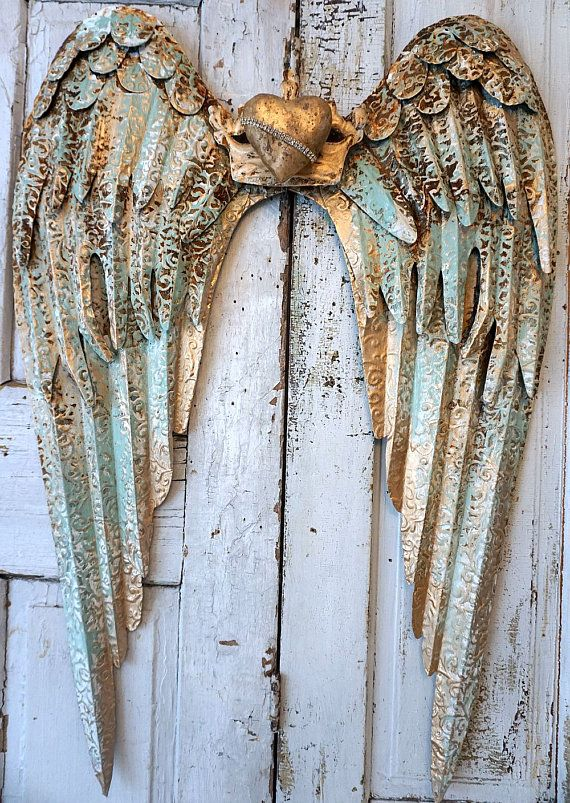 Rusty Metal Angel Wings Wall Hanging Large Distressed Rusted Sea Foam Shabby Cottage Chic Wing Set Accented White W Gold Decor Anita Spero