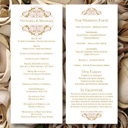 wedding ceremony program template tea length grace tea rose pink gold edit worddoc instant download all colors diy you print