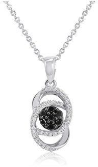 Amanda Rose Collection Black And White Diamond Infinity Pendant-necklace In Sterling Silver 1/4ct Tw.