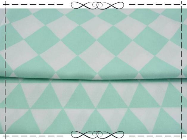 Stoff grafische Muster - Baumwolle, Karo, Rauten 9 cm, tuerkis - weiß - ein Designerstück von imagine-shop bei DaWanda