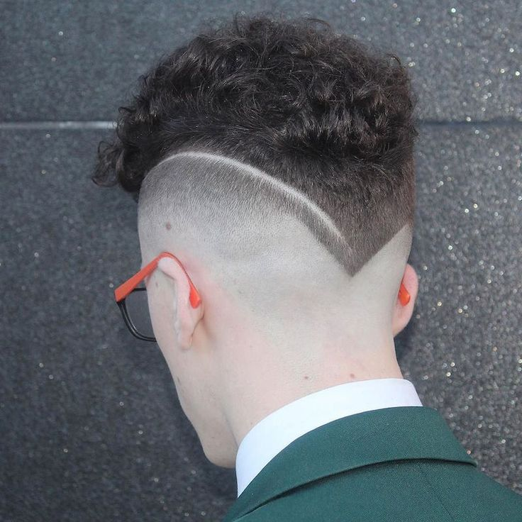 m13ky_and_cool hard part bald fade curly hair