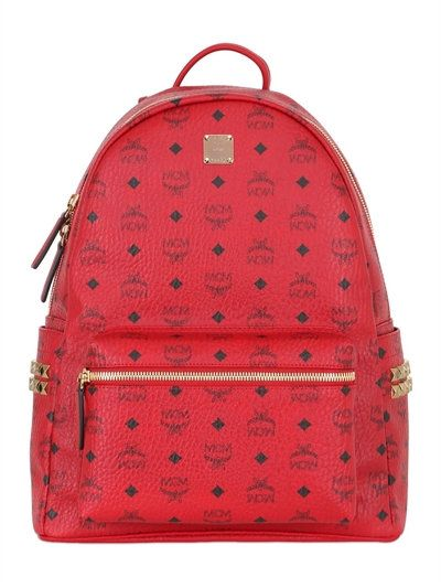 MCM Medium Stark Faux Leather Backpack, Red. #mcm #bags #leather #backpacks #lace #