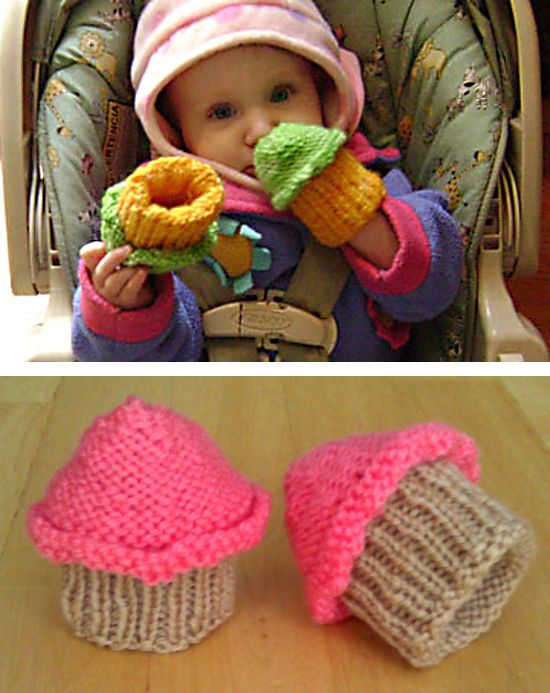 210af73b5 Free Knitting Pattern for Baby Cupcake Hands - Baby mittens to keep ...