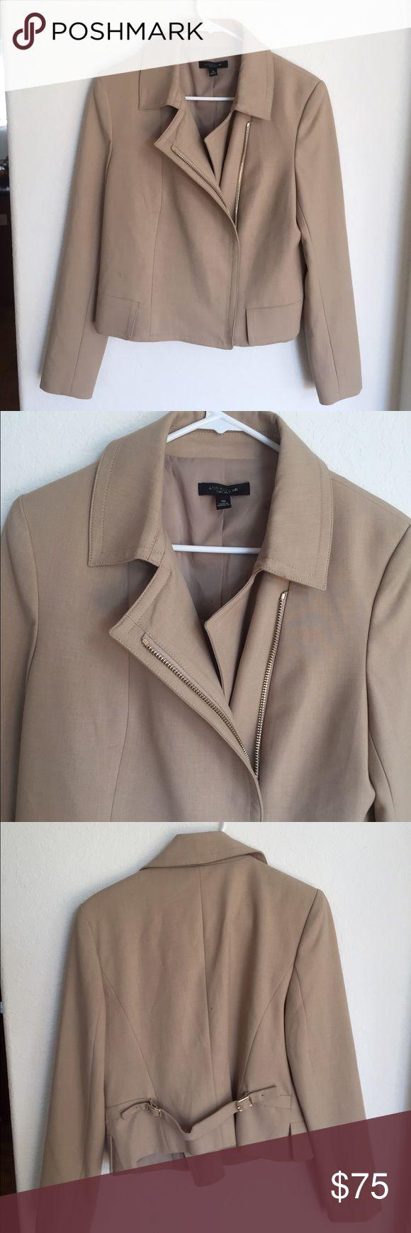 Ann Taylor Beige Zip Up Jacket Ann Taylor size 10 khaki Beige zip up coat Ann Taylor Jackets & Coats