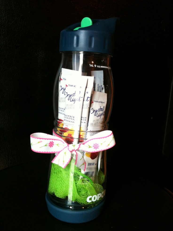 Baby Shower Game Prize - Waterbottle filled with a loofa and crystal light drink packets.