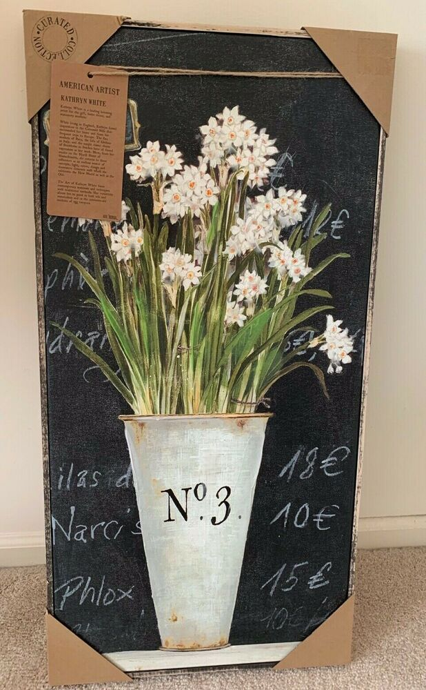 Kathryn White Curated Collection Art White Narcissus On Black 16 X 32 X 2 Nwt Ebay Black Canvas Art White Art White Painting Kathryn white canvas art