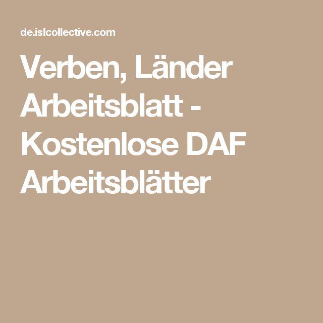 Verben, Länder Arbeitsblatt - Kostenlose DAF Arbeitsblätter   Arbeit ...