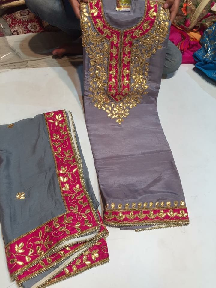Really digging this kurti style gotapati embroidery and this unique color combination Suit by