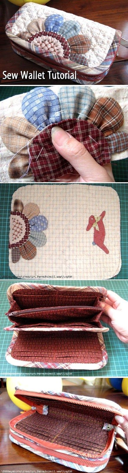Step by step instructions for sewing a small purse or wallet. www.handmadiya.co...