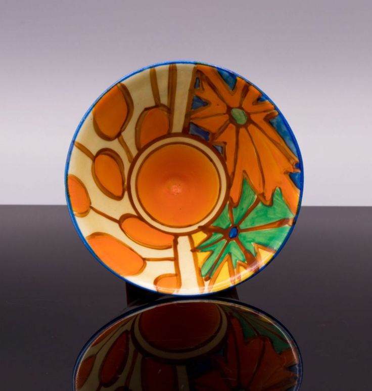 Clarice Cliff Fantasque Umbrellas & Rain Pattern Conical Sugar Bowl c1929