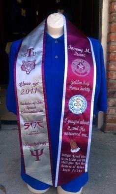 """Graduation stole idea found on """"HBCU Graduation Stoles"""" website."""
