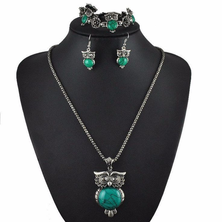 Owl Design Jewelry Set In Vintage Silver & Colored Stone - Big Star Trading Store