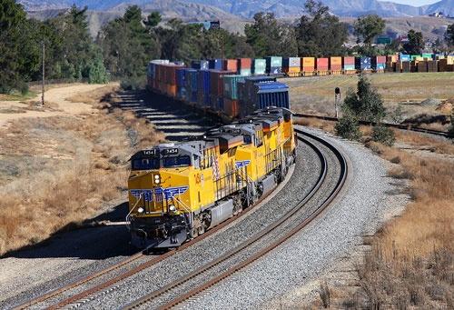 Union Pacific 3½-mile-long intermodal train from Dallas  to Long Beach, California.