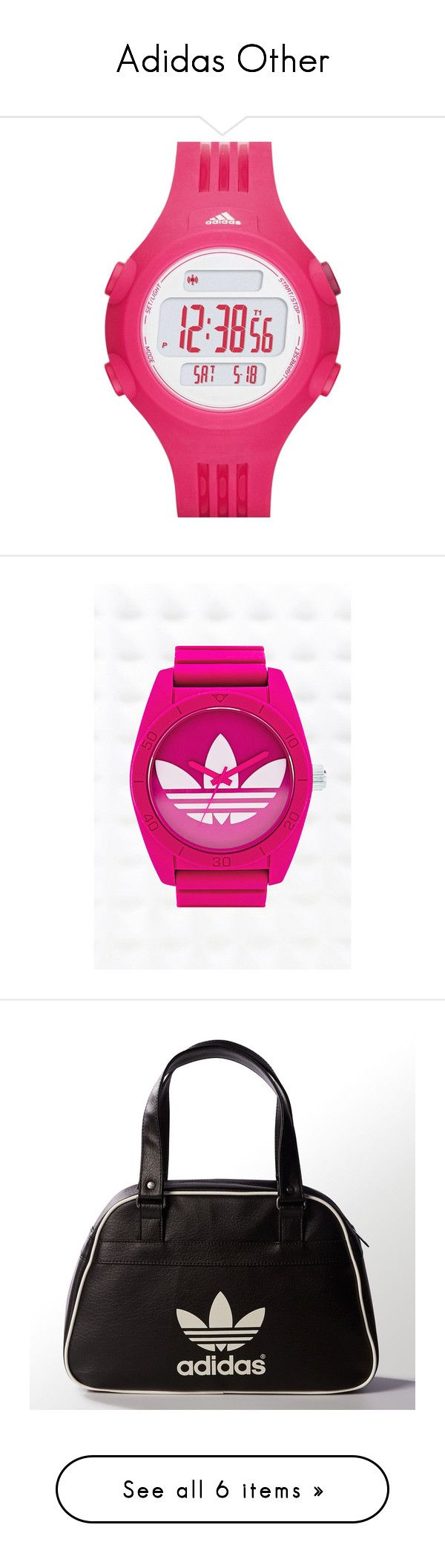 """Adidas Other"" by alyssa-perry ❤ liked on Polyvore featuring jewelry, watches, digital watch, adidas watches, adidas, sporty watches, schmuck, pink, chunky jewelry and womens jewellery"