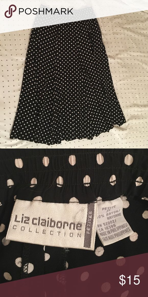 Liz Claiborne polka dotted skirt Liz Claiborne black and white polka dotted skirt. WITH POCKETS!! Liz Claiborne Skirts