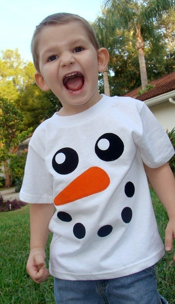Snowman Face Custom Applique Tshirt. $22.00, via Etsy.