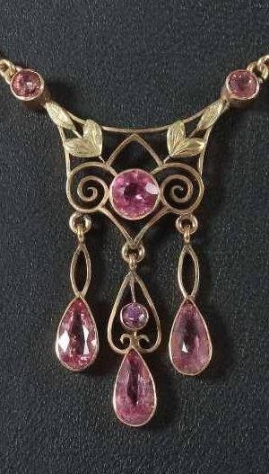 An antique gold and pink tourmaline (?) pendant necklace, late 19th to early 20th century. #antique #necklace
