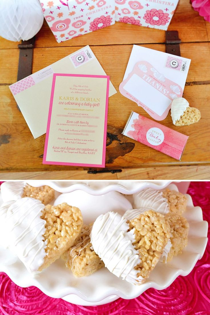 Baby shower rice krispy treat ideas - Charming Sweet Tickled Pink Baby Shower