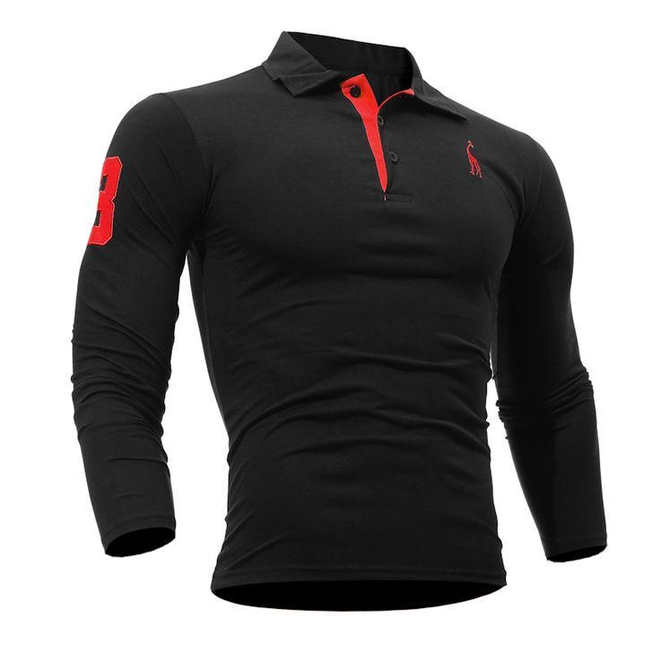 Mens Polo Shirt Brands 2016 Male Long Sleeve Fashion Casual Slim Solid Deer Embroidery Polos Men  Jerseys   3XL