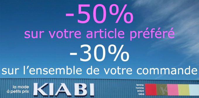 Bons de Reductions chez Kiabi -30% sur l'ensemble de votre commande ou votre article préféré à -50% !  http://boutique.cl0sed.com/2014/09/bons-de-reductions-chez-kiabi/  #BonPlan