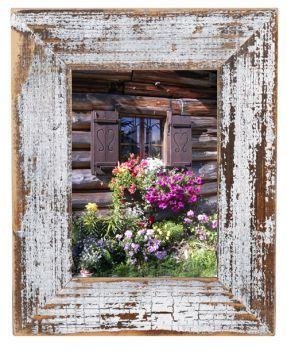 Shabby Chic Nostalgie Bilderrahmen antik nostalgisch altes Holz weiß-natur
