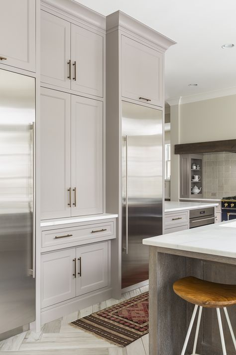 """Gorgeous! Softer white kitchen. Wall color: Benjamin Moore-Winds Breath; Ceiling color: Benjamin Moore-Simply White; Cabinet paint color: Farrow & Ball-Charleston Gray. Kitchen Hex pull: Ashley Norton, light bronze, 7-1/2"""" overall length. Note the cabinets to the left- bet they hold appliances. 100x48 Island: quarter sawn white oak w/ cerused finish; Bianco Lasa Oro marble 