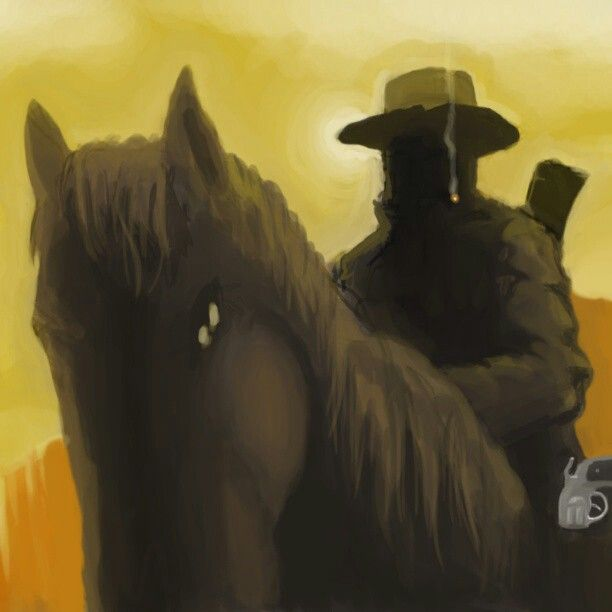 """The gunslinger"" Scene and mood concept. Photoshop + Intuos4 digital painting"