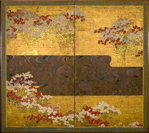 Ogata Korin. Red and White FLowers in Bloom by a Flowing Stream .18th C. 2panel screen