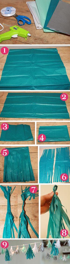 DIY tissue tassle garland