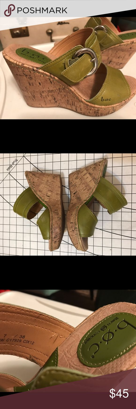 "Hot!! Born BOC 4"" wedge sandal 38 / 7 in KIWI 🥝 Born B.O.C. Platform wedge sandals in kiwi green leather 🥝. Size: EU 38/ US 7. Cork platform is 1"" + 3"" heel. Wide adjustable buckle straps have elastic goring. super cute & comfy!  Very good preowned condition. No chips in cork, very light wear on soles, vey minor blemishes on leather ( see photos). First photo is accurate color! Thanks for looking! Born Shoes Wedges"