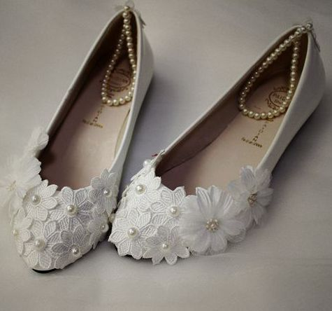 Plus sizes 34-42 womens wedding shoes ivory lace TG423 hand made ankle beading pearls bracelets sweet lace flowers bridal shoes