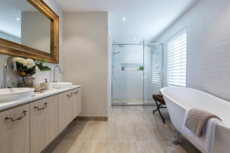 Forsyth display home ensuite with a Tuscany World of Style.