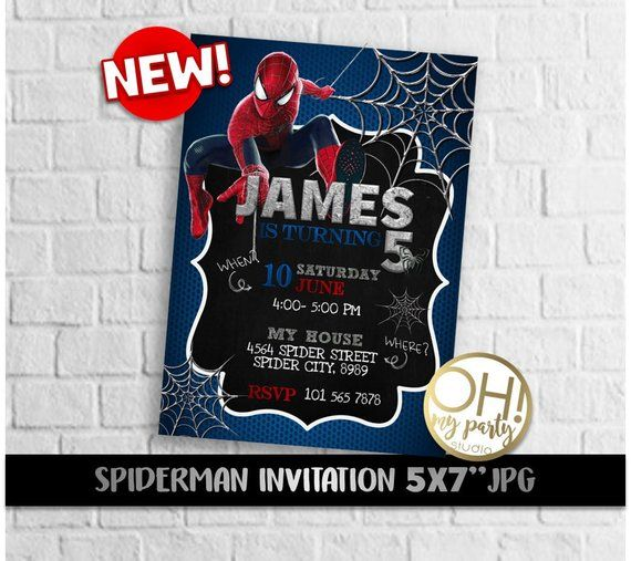 Spiderman Birthday Invitation Spiderman Invitation Spiderman