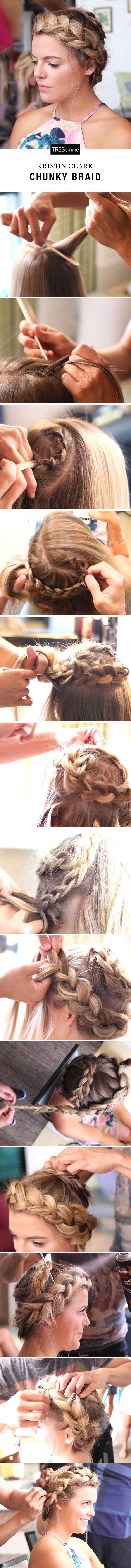 Grab a friend & try a TRES-styled Chunky Braid with Kristin Clark! 1) Spray 2nd day hair @ roots with Fresh Start Dry Shampoo to refresh. 2) Start @ center of crown. Dutch braid in a spiral. Stay in the crown area, saving hair at hairline for 2nd braid. 3) Braid into a circle & pin ends under the braid itself. 4) Start 2nd Dutch braid by right temple, near 1st braid. 5) Continue braiding around head & secure ends under braid once you make it around. 6) Finish with Perfectly (un) Done…