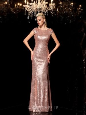 Sheath/Column Scoop Sequin Sleeveless Floor-Length Sequins Dresses - Evening Dresses - Occasion Dresses - QueenaBelle.com