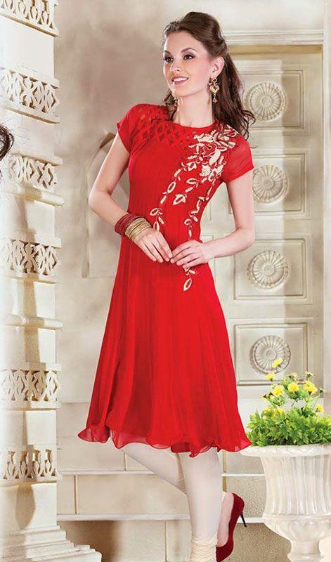 Stylish Red Faux Georgette Kurti Price: Usa Dollar $139, British UK Pound £82, Euro103, Canada CA$151 , Indian Rs7506.
