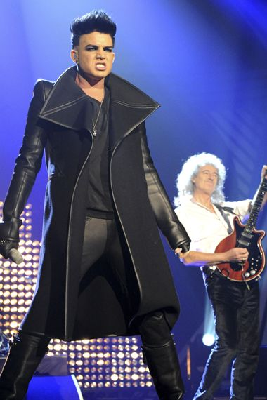 Adam Lambert performing with Brian May and Queen - 2012 European Music Awards