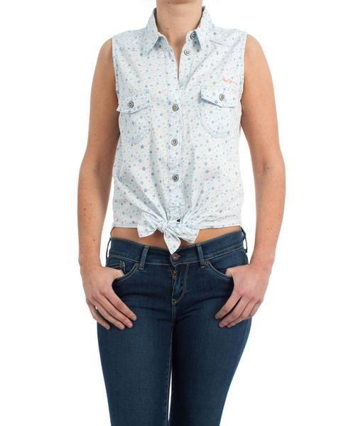 Camisa Pepe Jeans. Modelo Disty. Estampado de flores. Slim fit. Sin mangas. Ata a la cintura. La modelo lleva una talla S. ¡Ideal para Semana Santa en la playa! :)   #moda #ropa #fashion #style #tendencias #mujer #pepejeans