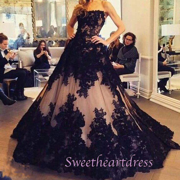 2016 gorgeous pink chiffon long prom dress with black lace applique, ball gowns…