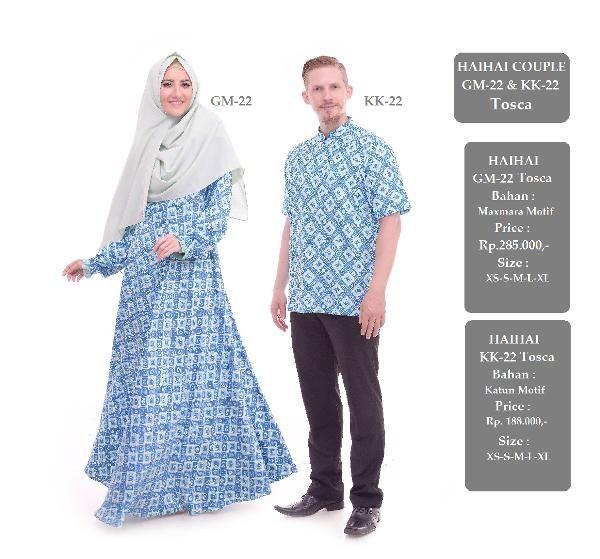 Jual beli Baju Sarimbit Couple GM-22 & KK-22 TOSCA di Lapak Aprilia Wati - agenbajumuslim. Menjual Baju Muslim Couple - Baju Sarimbit Couple GM-22 & KK-22 TOSCA Harga : Rp. 473.000  Baju Gamis HAIHAI GM-22 TOSKA HARGA : Rp. 285.000 Bahan Maxmara motif Size : XS - S - M - L - XL  Baju Kemeja Pria HAI-HAI KK-22 TOSKA HARGA : Rp. 188.000 Bahan 100% cotton mutif Size : XS - S - M - L - XL  Stok Barang Berubah sewaktu-waktu tanpa pemberitahuan terlebih dahulu, Mohon pastikan keters...
