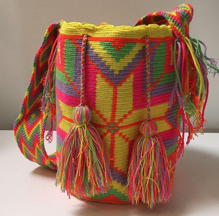 Wayuu Bag Mochila Hand Woven - Ship Worldwide #347 by PurpleCatStore on Etsy