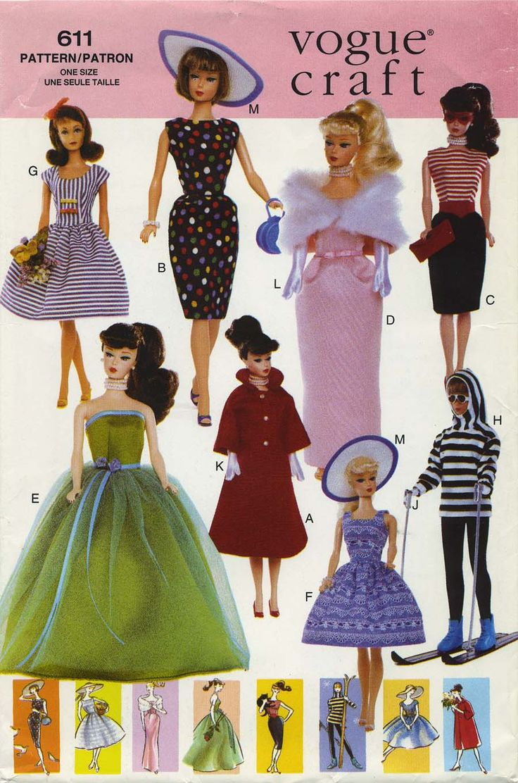 Free sewing patterns for fashion dolls - Retro Vintage Sewing Pattern Doll Clothes For 11 Fashion Dolls Vogue 611 Year