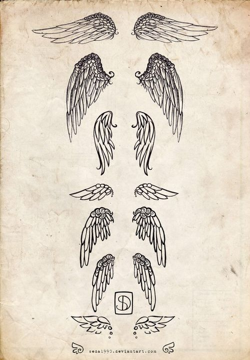 Angel wings tattoo,. I want the third one down ,. I want flower petals instead of feathers