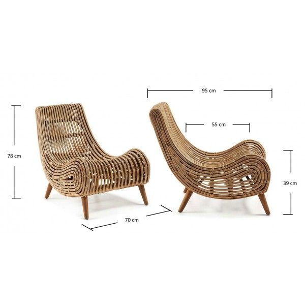 Tika Fauteuil Armstoel Rattan Hout - Kave - DesignOnline24