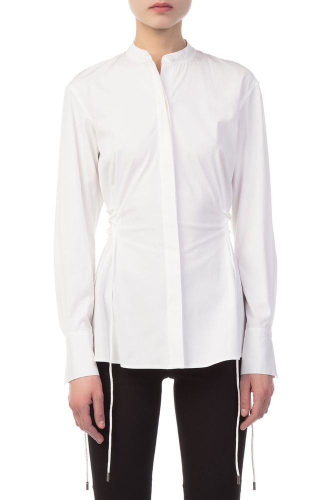 47d6b8f2b1 $285 THEORY BUTTON DOWN SIDE LACE UP STRETCH COTTON BLOUSE IN WHITE SIZE  SMALL #fashion #clothing #shoes #accessories #womensclothing #tops (ebay  link)