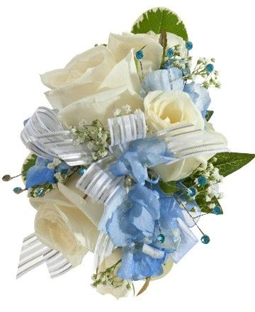 Blue Corsages for Prom | rose hydrangea corsage white blue $ 32 99