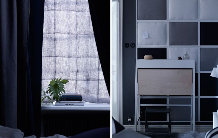 Two ways of bedroom soundproofing. One: a soundproofed curtain hung infront of the window and two: a soundproofed wall made from fabric-filled photo frames. Plus, a muted color tone of dark blues and greys helps the bedroom feel calm.