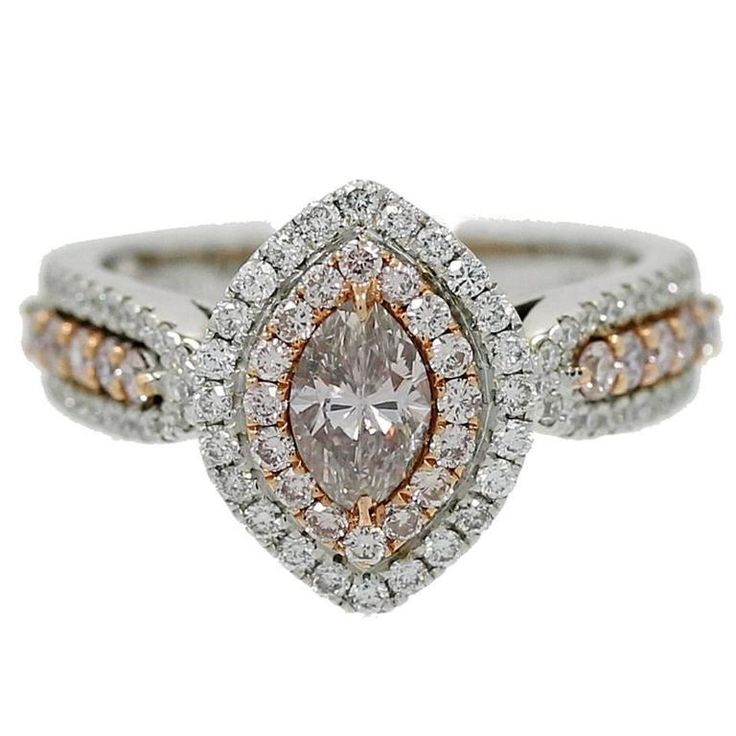 Natural Pink Marquise Center Diamond Ring | From a unique collection of vintage bridal rings at https://www.1stdibs.com/jewelry/rings/bridal-rings/